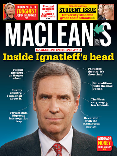 Inside Ignatieff's Head MacLeans Magazine cover