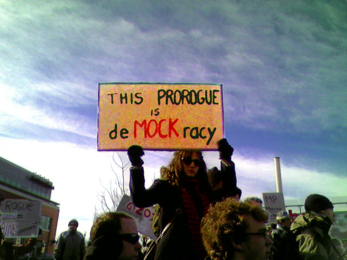 the sign reads: This ProRogue is deMOCKracy