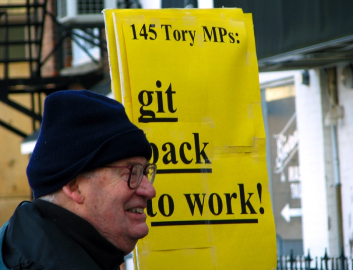 This sign demands 145 Tory MPs: Git Back To Work