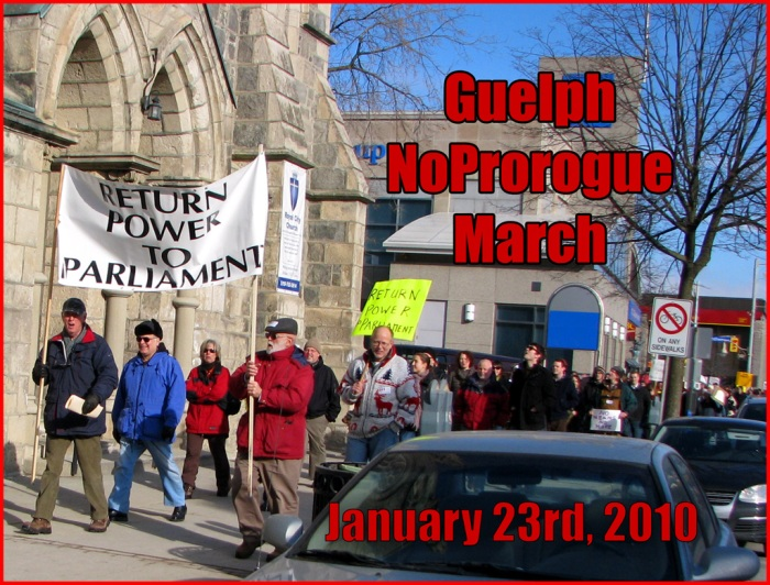 The rally changes to a March along the streets of Guelph