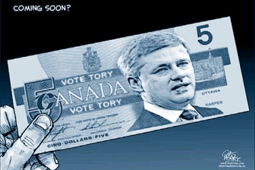 Political Cartoon shows Stephen Harper on the Canadian five dollar bill which says vote tory