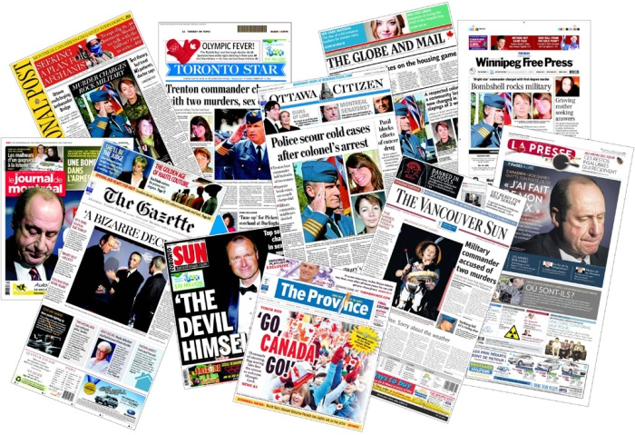 a spread of 9 February  newspapers from across Canada