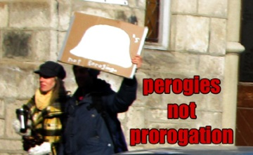 "A drawing of a Perogie tells us ""Perogies Not Prorogation"""