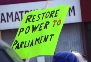 Restore Power to Parliament sign