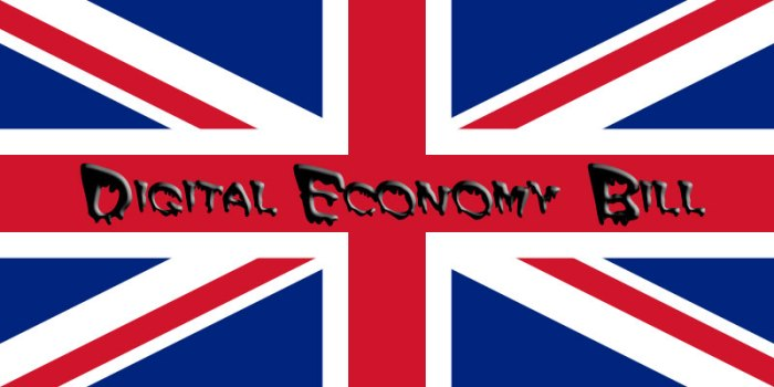 UK Flag with superimposed words DIGITAL ECONOMY BILL