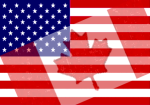 Canadian Flag Superimposed on American Flag