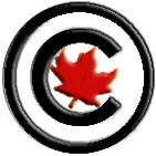 copyright symbol over a red maple leaf