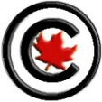 copyright symbol over a red maple leaf
