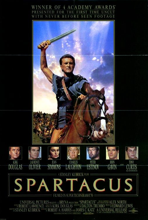 re-release movie poster for the 1960 film Spartacus