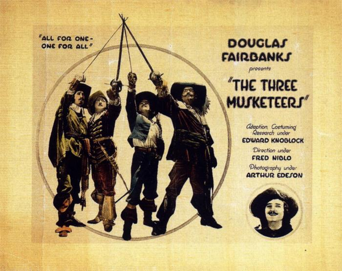 The Douglas Fairbanks movie poster for The Three Musketeers, Wikipedia