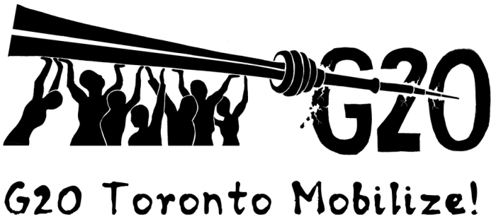 black and white graphic showing the CN tower being wielded by citizens as a lance to skewer G20