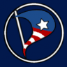 United States Pirate Party logo... stylized Stars and Stripes overlaid on Pirate Party logo