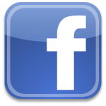 White lowercase letter F on a blue field is the FaceBook logo