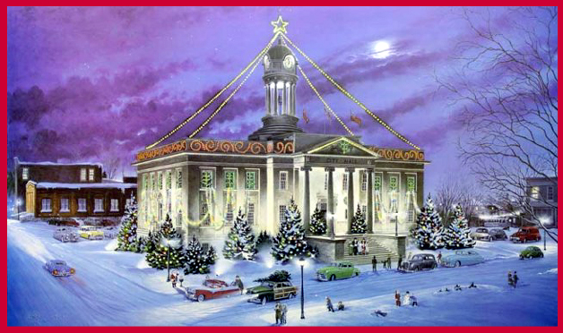 acrylic painting by Lance Russwurm shows the old Kitchener City Hall at Christmas
