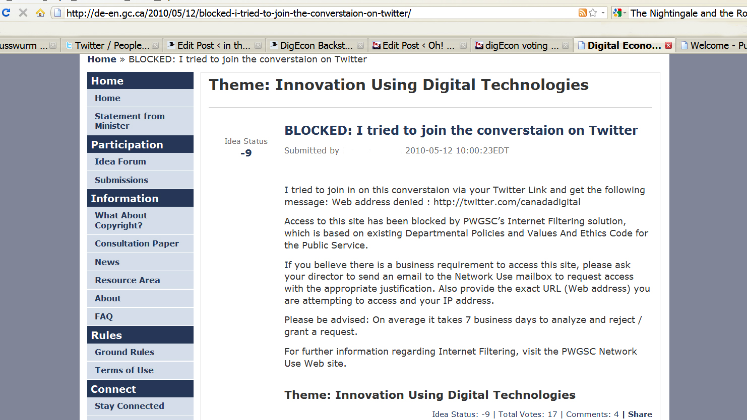 Digital Economy forum entry about software conflict between Twitter and the Canadian Government websites causing users to be blocked from sharing