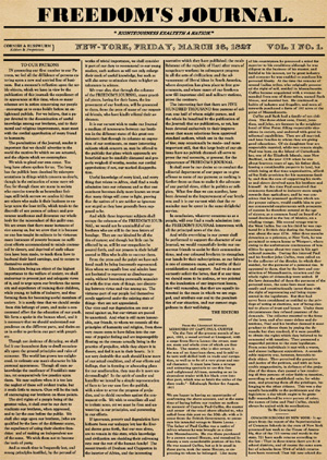 graphic reproduction of page one of Freedom's Journal