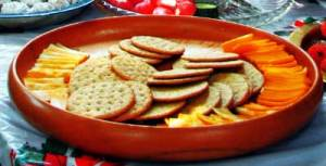 cheese and crackers on a tray