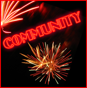 Fireworks with title text reading community