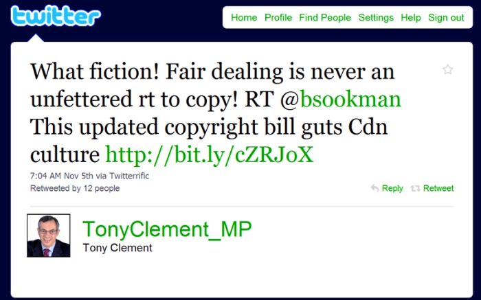 Tony Clement: What fiction! Fair dealing is never an unfettered rt to copy! RT @bsookman This updated copyright bill guts Cdn culture http://bit.ly/cZRJoX