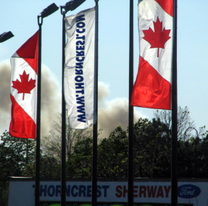 Canadian Flags reconfiguted to sell cars
