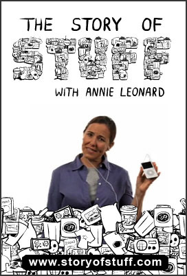 The Story of Stuff with Annie Leonard image features Annie Leonard photo holding ipod is integrated with black and white line drawing of Stuff