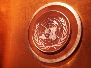 Embossed United Nations symbol engraved or etched on white on a copper colored plaque,