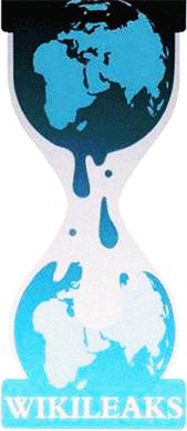 """WikiLeaks """"hourglass leaking earth"""" logo"""