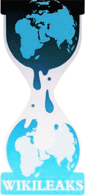 "The WikiLeaks ""hourglass leaking earth"" logo"