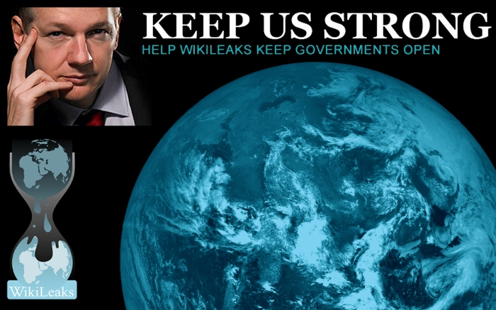 Julian Assange, wikileaks logo and planet earth titled KEEP US STRONG