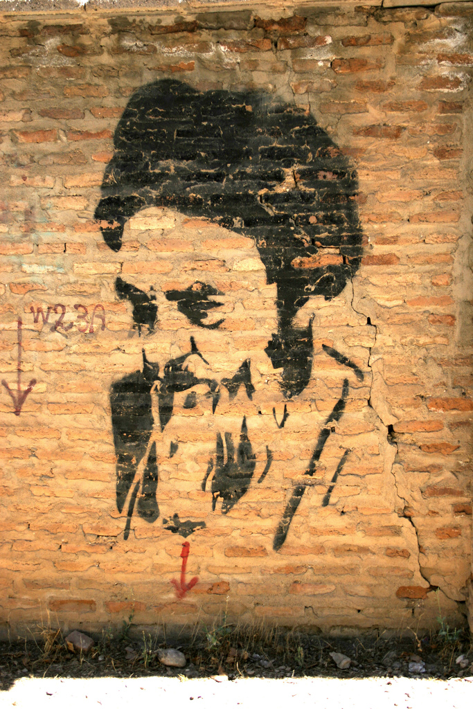Graffiti portrait on a brick wall
