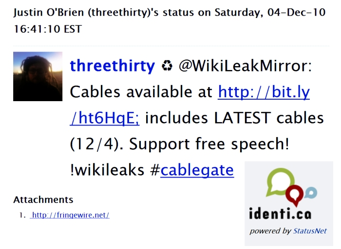 threethirty rt @WikiLeakMirror: Cables available at http colon slash slash bit dot ly slash ht6HqE semicolon includes LATEST cables bracket 12/4 bracket. Support free speech wikileaks #cablegate