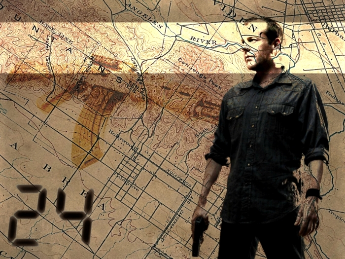 Jack Bauer is played by actor Kiefer Sutherland, pictured holding a gun, standing in front of a California map, with digital clock style numeral 24 inset