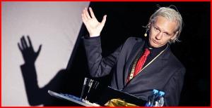Julian Assange speaking at podium at New Media Days 2009