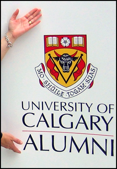 crest above words University of Calgary Alumni with woman's hands above and below