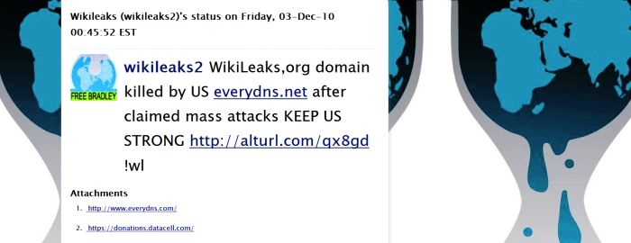 WikiLeaks,org domain killed by US everydns.net after claimed mass attacks KEEP US STRONG http://alturl.com/qx8gd !wl