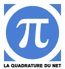 the Pi symbol enclosed in a circle on a blue field captioned La Quadrature du net