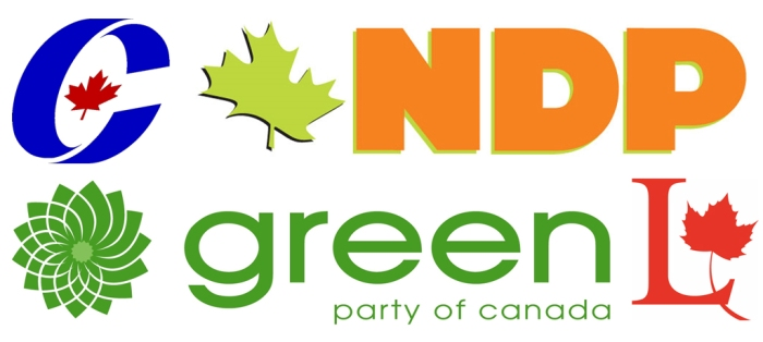 Conservative NDP Green and Liberal logos