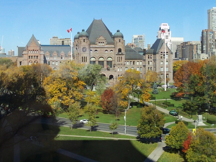 aerial view of Queens Park in autumn.