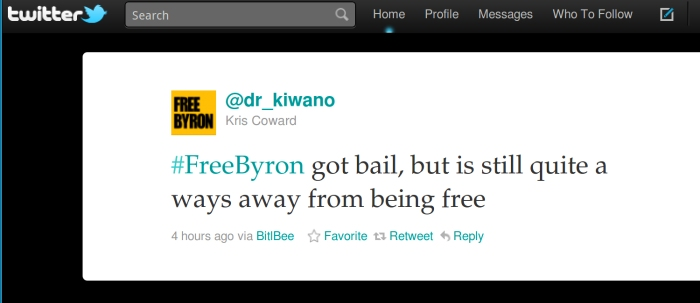 @dr_kiwano (Kris Coward) says #FreeByron got bail, but is still quite a ways away from being free