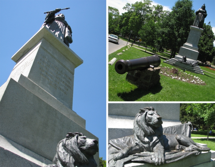 Left: looking way up the statue,  top right Statue in its roadside setting, cannon in foreground, bottom right, lion at statue's base