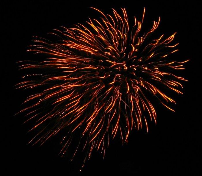 Golden fireworks explosion