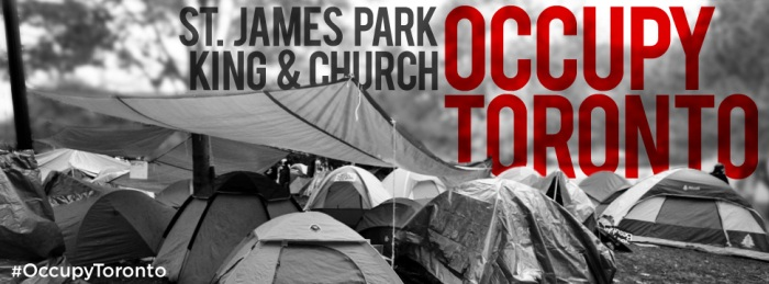 Occupy Toronto banner - black and white tents in the park