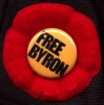 "A poppy with a ""free Byron"" center"