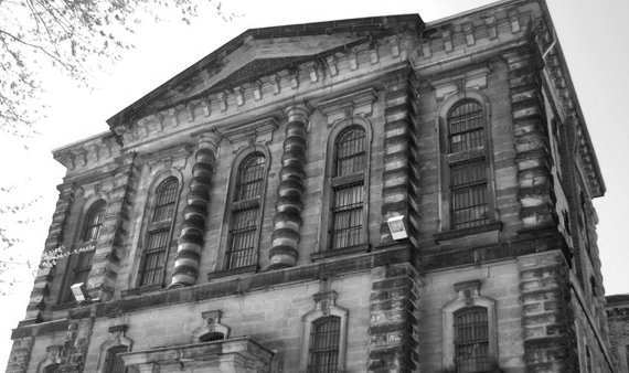 Black and white: looking up at the Don Jail