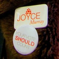 """Joyce Murray""  and ""Your ""Vote Should Count"" lapel buttons"