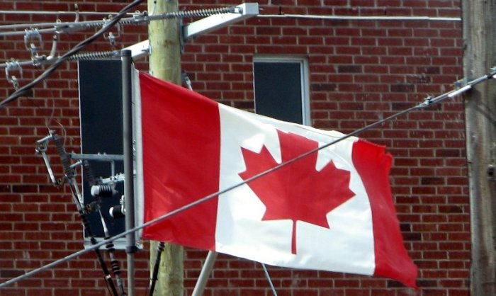 Canadian Flag surrounded by cables