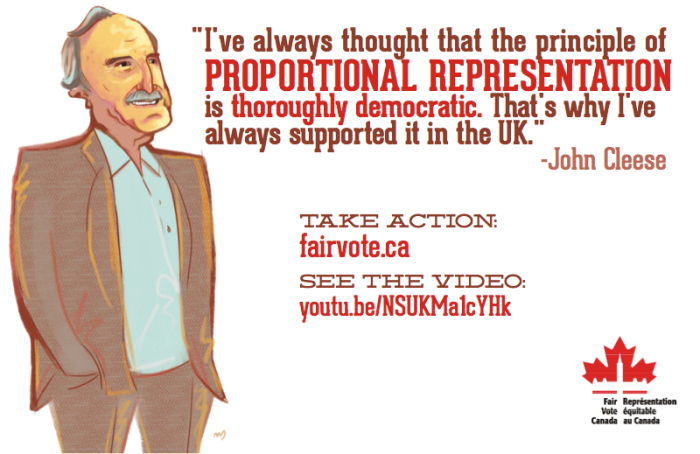 "A drawing of John Cleese accompanied by this quotation ""I've always thought that the principle of Proportional Representation is thoroughly democratic.  That's why I've always supported it in the UK."" - John Cleese"
