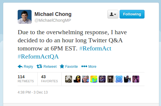 @MichaelChongMP Due to the overwhelming response, I have decided to do an hour long Twitter Q&A tomorrow at 6PM EST. #ReformAct #ReformActQA