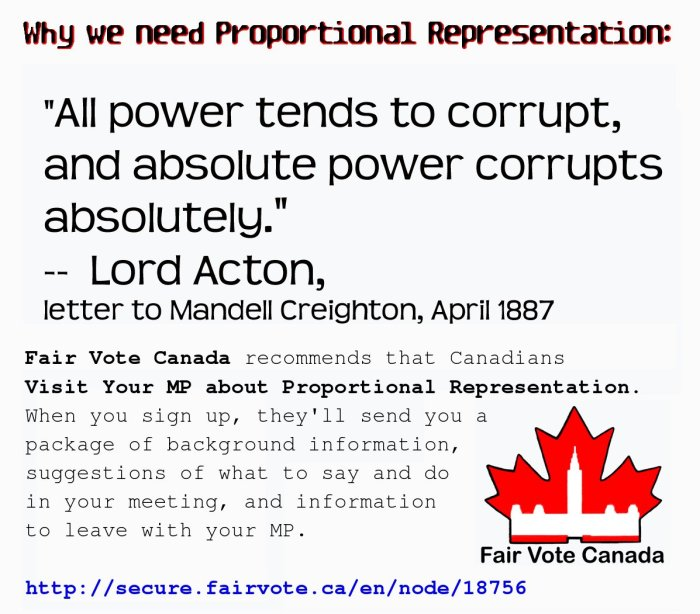 """Why We Need Proportional Representation: ""All power tends to corrupt, and absoluteb power corrupts absolutely."" ~ Lord Acton"