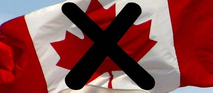 Canadian Flag marked with an Xlag